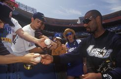 Professional Baseball player. Signing autographs and balls for young fans, Dodger Stadium, Los Angeles, CA Stock Photography