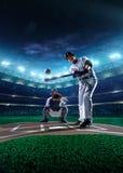 Professional baseball players on grand arena stock photos