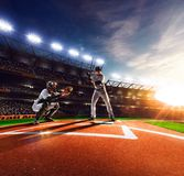 Professional baseball players on  grand arena Stock Photo