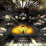 Professional basketball court arena in lights 3d illustration stock photos