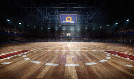 Professional basketball court arena in lights with fans 3d rendering. Professional basketball court arena with tribune and light Stock Photography