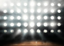 Professional basketball parquet in lights background render Stock Photo
