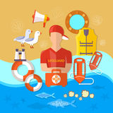 Professional  beach lifeguard vector Royalty Free Stock Images