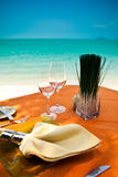 Professional beach restaurant Stock Images