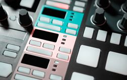 Professional beat machine device for music composer. Beat machine device for electronic music composer.Techno dj play and remix musical tracks with modern drum stock photo
