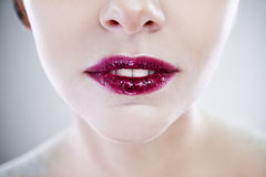 Professional beauty lips makeup. Make up closeup. Plump sexy lips and perfect skin Royalty Free Stock Images