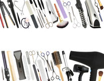 Professional Beauty Salon and Barber shop Equipment Isolated stock images