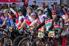 Professional bicycling racers Royalty Free Stock Photos