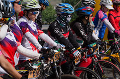 Professional bicycling racers Royalty Free Stock Photography