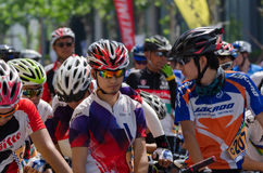 Professional bicycling racers Stock Images