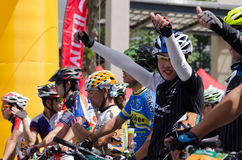 Professional bicycling racers Royalty Free Stock Images