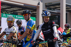 Professional bicycling racers Royalty Free Stock Image