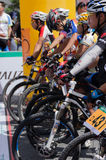 Professional bicycling racers Stock Photo