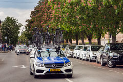 Professional biking team's car carrying bikes Royalty Free Stock Images