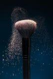 Professional black make-up brush with pink powder Royalty Free Stock Image
