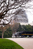 Professional black semi truck trailer on background of Capitol i Stock Photography