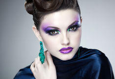 Professional blue make-up and hairstyle on beautiful woman face Royalty Free Stock Image