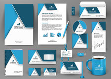 Professional blue universal branding design kit with origami element. Corporate identity template, business stationery mock-up for real estate company Stock Images