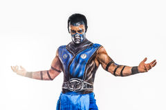 Professional bodyart Sub-Zero from Mortal Kombat. Professional make-up Sub-Zero from mortal kombat Stock Images