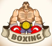 Professional boxer after a fight. Emblem. Boxer after a victorious battle with injuries and the championship belt. As an emblem with a ribbon Stock Photo