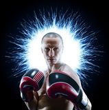 Professional boxer isolated in black background dark royalty free stock image
