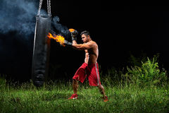 Professional boxer punching sandbag outdoors with his boxing glo Royalty Free Stock Images