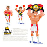 Professional boxer show champion belt. winner concept. character. Design -  illustration Stock Image
