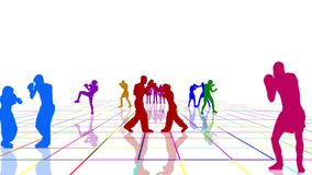 Boxers and kickboxers training on a multicolored grid. White background