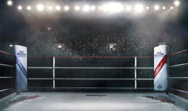 Professional boxing arena in lights 3d rendering. Boxing arena with blurred spectator and stadium light stock illustration