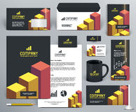 Professional  branding design kit with bricks. Professional  branding design kit  with bricks for investment, financial corp. Gold, yellow, orange, red, black Royalty Free Stock Images