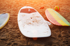 Professional bright colored surfboards Stock Images
