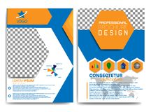 PROFESSIONAL BROCHURE DESIGN WITH BLUE AND ORANGE COLORS CONCEPT stock illustration