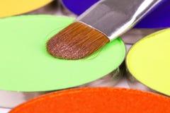 Professional brush on green eyeshadows palette Stock Images