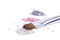 Professional brush for make-up on broken shadows Stock Images