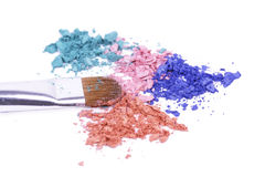 Professional brush for make-up on crushed shadows Stock Photography