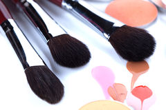 Professional brushes for applying blush Royalty Free Stock Photos