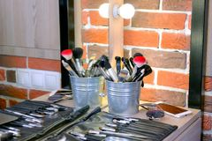 Professional brushes of the different sizes for make up Royalty Free Stock Image