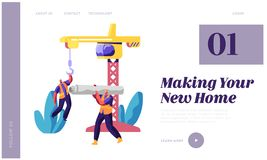 Professional Builder in Uniform in Process Construction Landing Page. Worker in Hardhat Keep Crane. Man Carry Material Building. Professional Builder in Uniform vector illustration