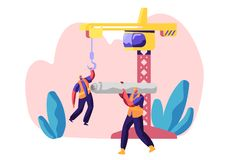 Professional Builder in Uniform in Process Construction. Worker in Hardhat Keep Crane. Service Urban Building. Workman. Carry Material for Build Work. Flat stock illustration