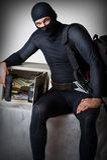 Professional burglar in black mask Royalty Free Stock Images