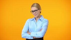Professional business lady smiling on camera folding arms, company worker, job. Stock footage stock video footage