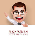 Professional Business Man Character Holding White Blank Paper Stock Photos