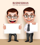 Professional Business Man Character Holding White Blank Paper for Message Royalty Free Stock Photos