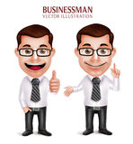 Professional Business Man Character with Pointing and OK Hand Gesture Royalty Free Stock Image