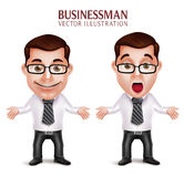 Professional Business Man Character Shocked and Surprised Posture Stock Images