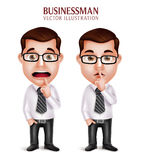 Professional Business Man Character in Silent Gesture and Worried. Set of 3D Realistic Professional Business Man Character in Silent Gesture and Worried  in Stock Photos