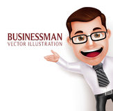Professional Business Man Character  Waving Hand for Presentation Royalty Free Stock Photography