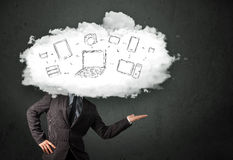 Professional business man with cloud network head Stock Photo
