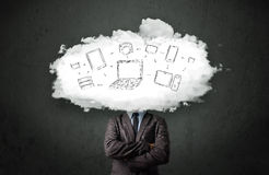 Professional business man with cloud network head Royalty Free Stock Photo