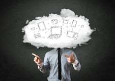 Professional business man with cloud network head Stock Photography